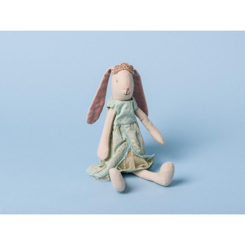 Maileg Bunny Prinzessin Mini Hase mit Schlappohren Krone und Kleid in mint grün 21 cm groß