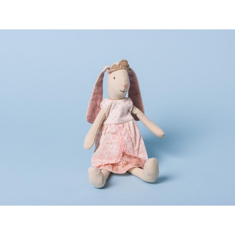 Maileg Bunny Prinzessin Mini Hase mit Schlappohren Krone und rosa Kleid 21 cm groß