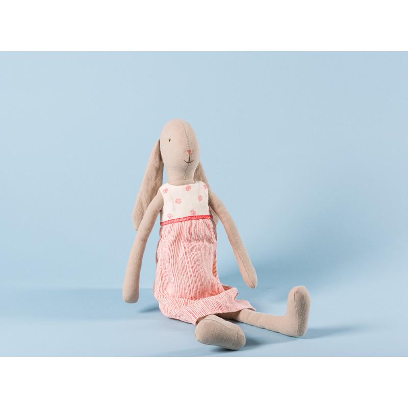 Maileg Bunny Size 3 im weißen Kleid mit roten streifen und Punkten Hase mit Schlappohren 42 cm groß zum Sammeln und schenken
