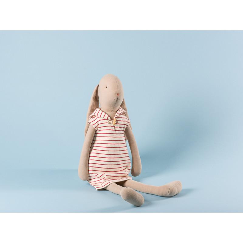 Maileg Bunny Size 4 im weißen Kleid mit roten streifen Maritim Hase mit Schlappohren 53 cm groß zum Sammeln und schenken