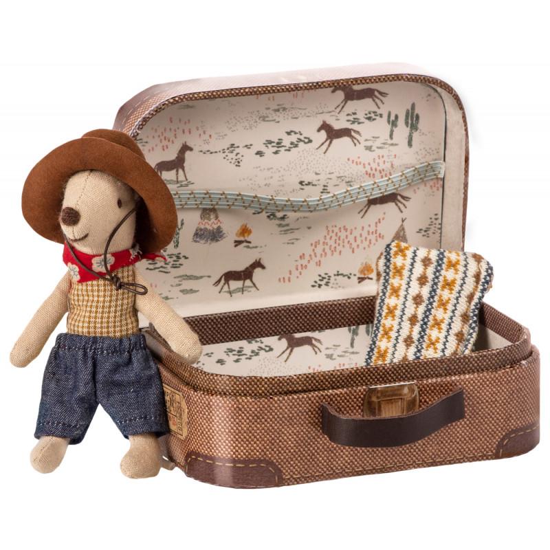 Maileg Cowboy im Koffer Little Brother Mouse mit Cowboyhut und Halstuch