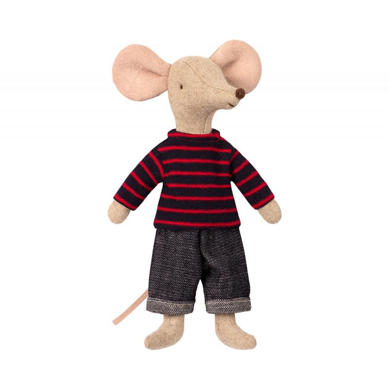 Maileg Dad Mouse Papa Maus in gestreiftem Sweater und cooler Jeans Kuscheltier Größe 15 cm