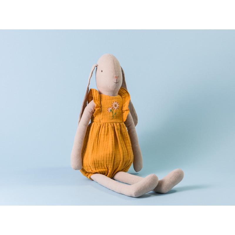 Maileg Hase Bunny im Jumpsuit in Orange mit Stickerei Size 4 Höhe 55 cm