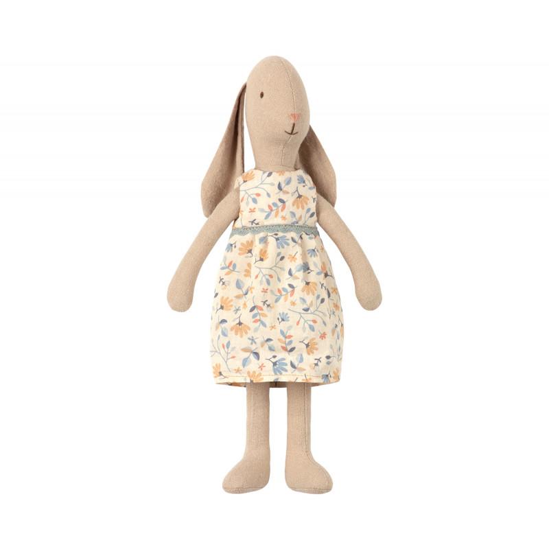 Maileg Hase im Blumenkleid Bunny Size 2 mit Hängeohren im weiß geblümten Kleid 26 cm groß