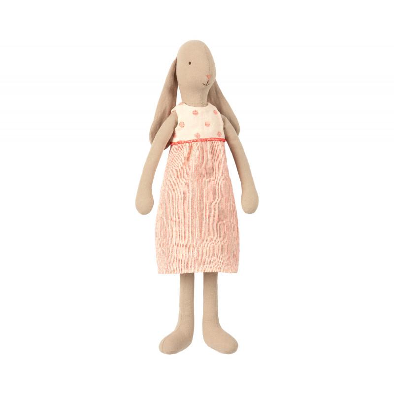 Maileg Hase im Kleid Weiß Rot Bunny off white Size 3 mit Schlappohren 42 cm groß