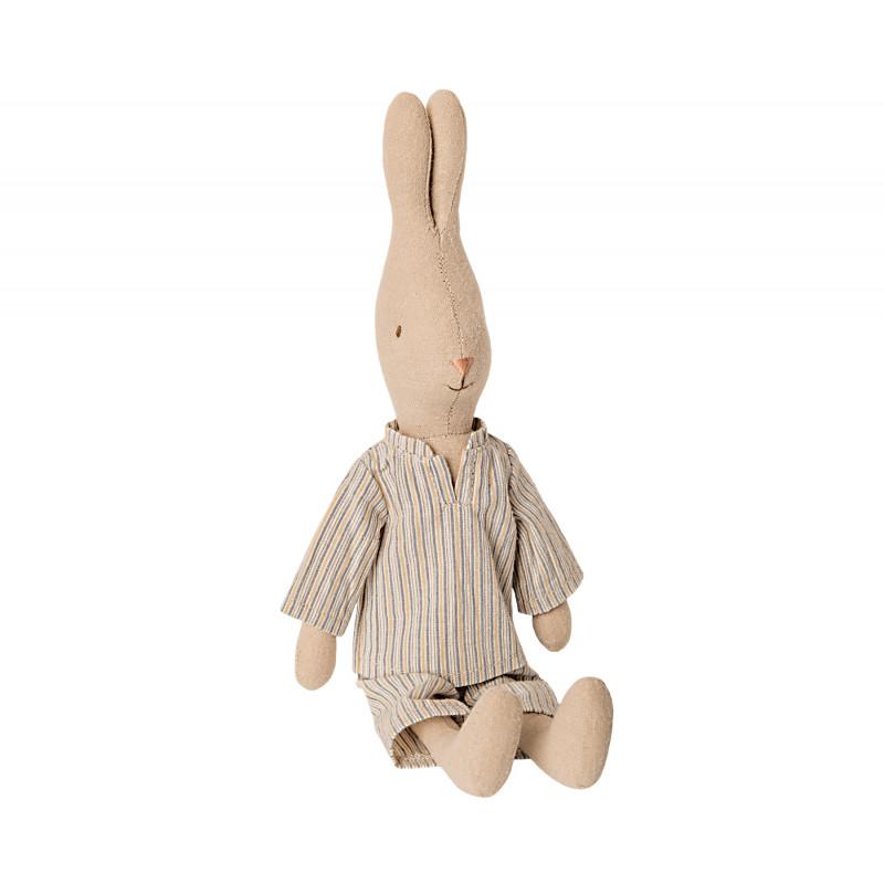 Maileg Hase im Pyjama mit Streifen Size 2 sitzend