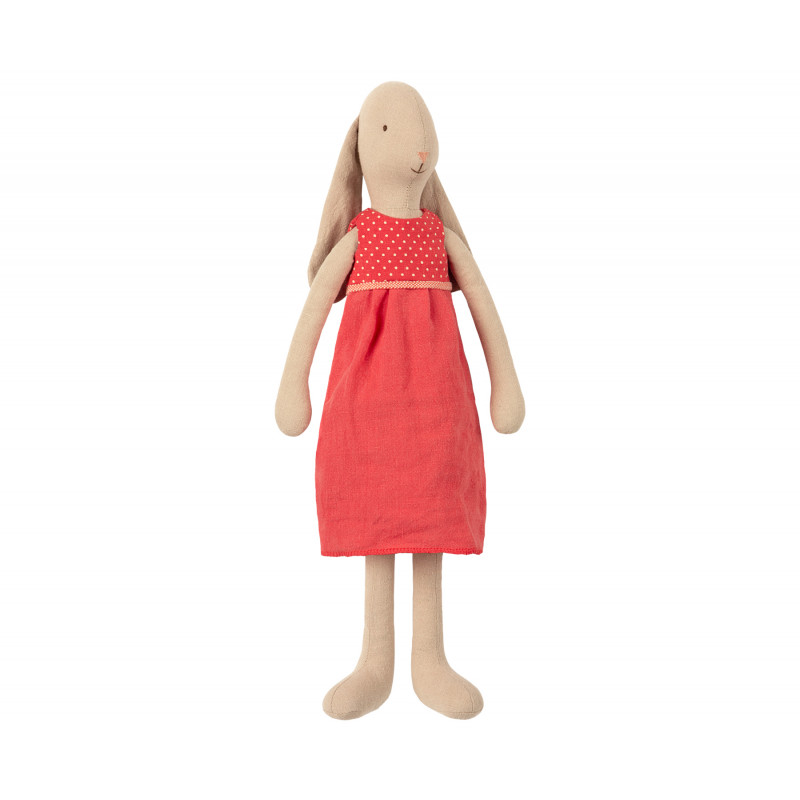 Maileg Hase im roten Kleid Bunny Size 3 mit Schlappohren Kleidchen in rot 42 cm groß