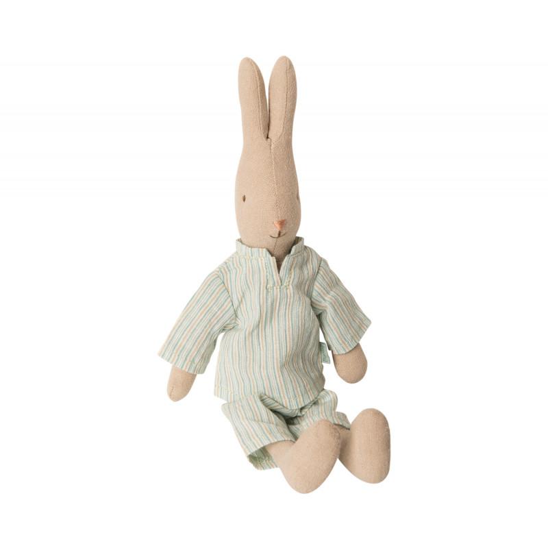 Maileg Hase im Schlafanzug mit Streifen sitzend 25 cm hoch