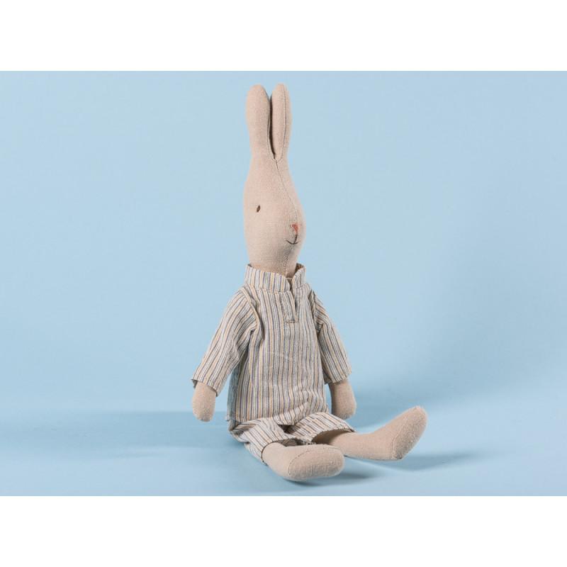 Maileg Hase Junge im Pyjama Schlafanzug Grau Beige gestreift 28 cm groß Size 2