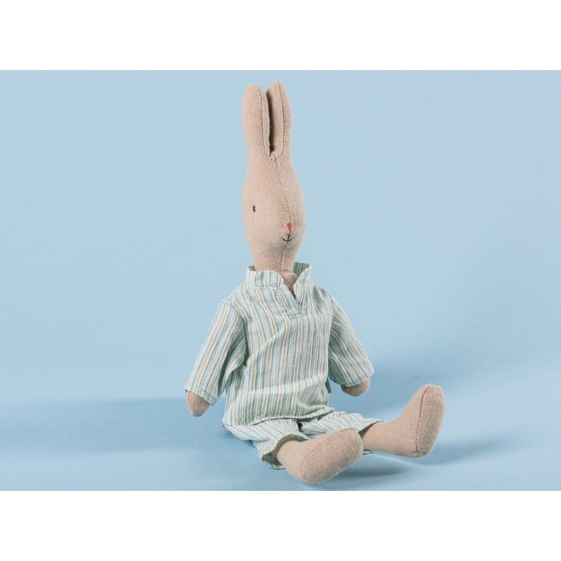 Maileg Hase Junge im Pyjama Schlafanzug Mint Beige gestreift 25 cm groß Size 1