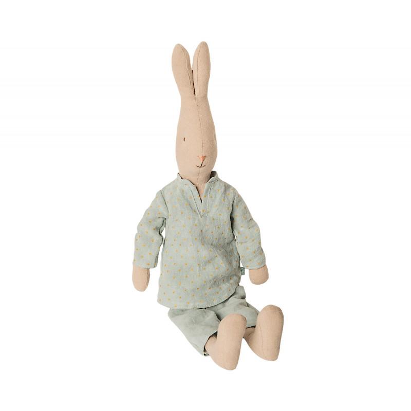 Maileg Hase Junge im Pyjama uni farbiger zwei Teiler 44 cm groß Maileg Size 3