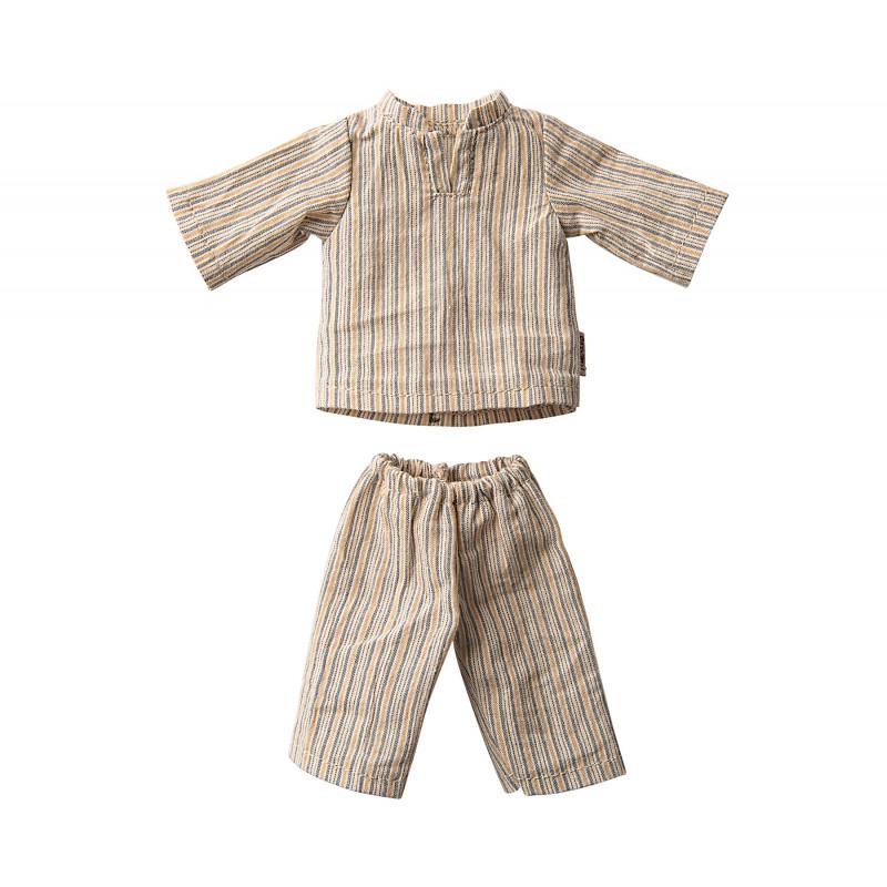 Maileg Hase Junge Pyjama gestreift im Detail 2 teiliger Schlafanzug mit Streifen für Maileg Size 2