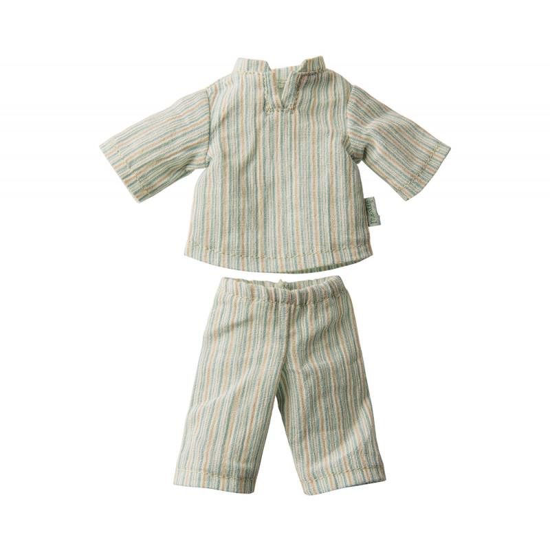 Maileg Hase Junge Pyjama mit Streifen im Detail 2 teiliger Schlafanzug gestreift