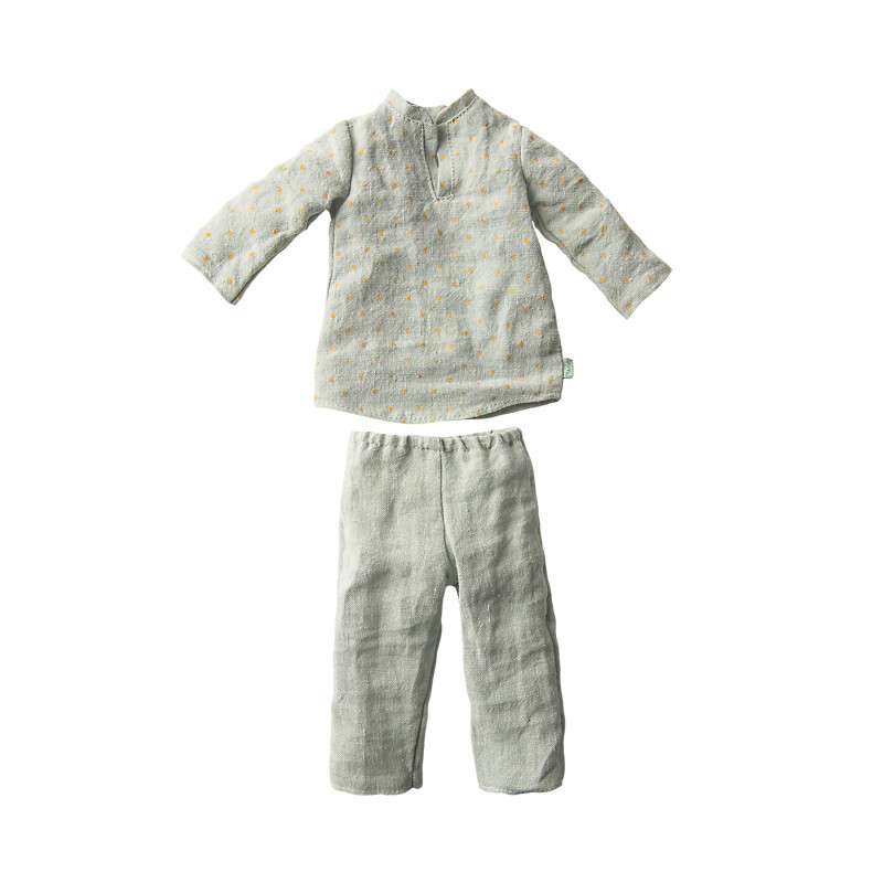 Maileg Hase Junge Pyjama uni farbig im Detail 2 teiliger Schlafanzug Maileg Size 3