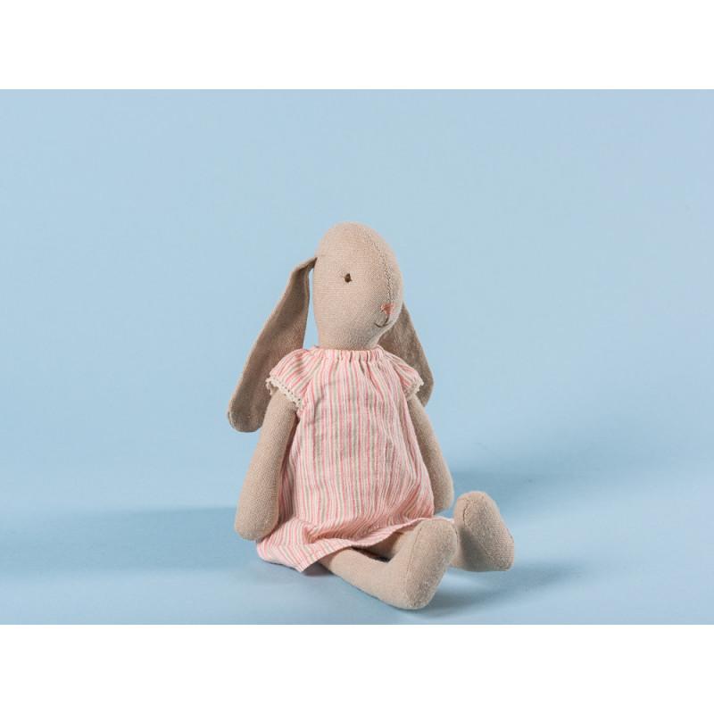 Maileg Hase Mädchen im Nachthemd Schlafanzug Mint Beige gestreift 25 cm groß Size 1