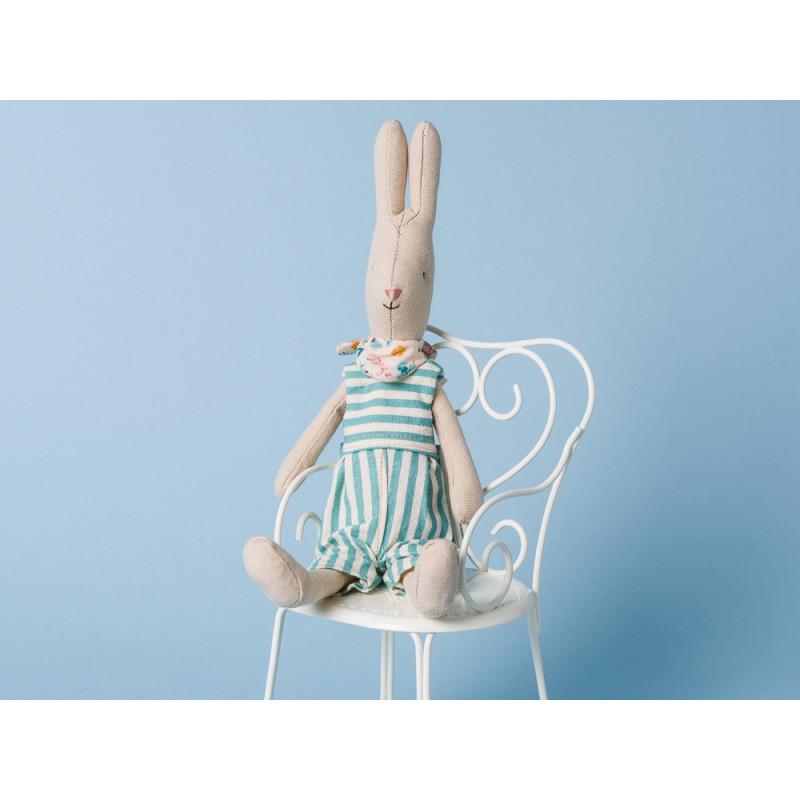 Maileg Hase Mini Rabbit Adam Overall gestreift hellblau Halstuch sitzen