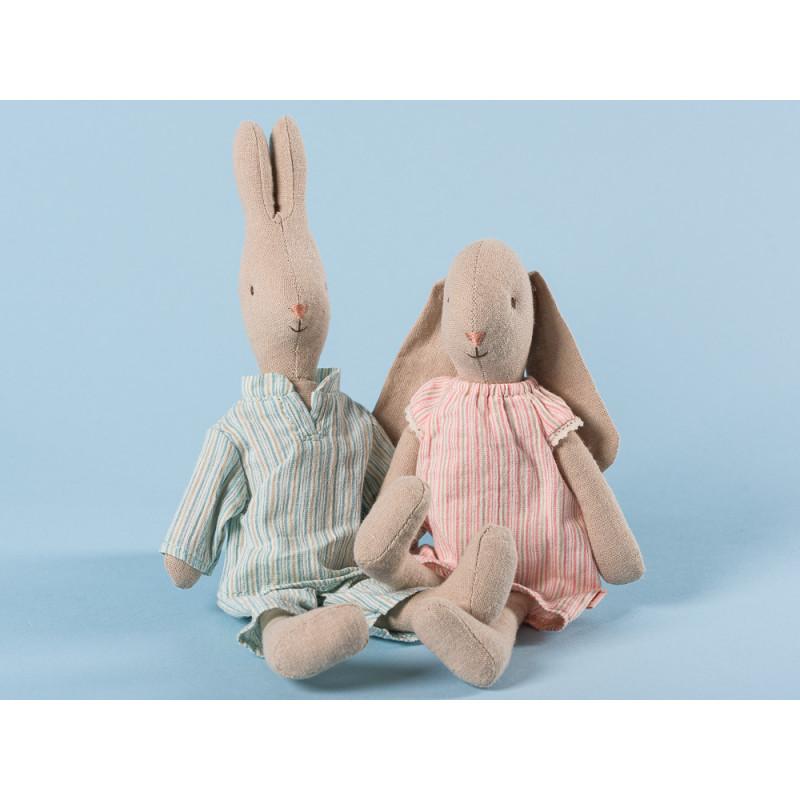 Maileg Hase und Hasenmädchen im Nachthemd und Pyjama Schlafanzug 25 cm groß Size 1