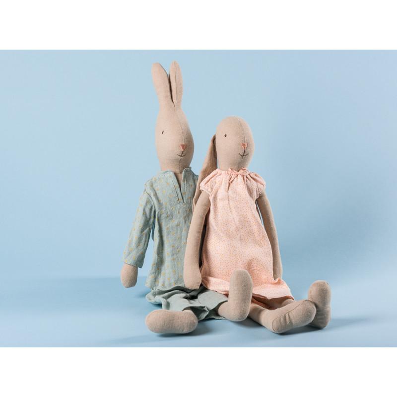 Maileg Hase und Hasenmädchen im Nachthemd und Pyjama Schlafanzug mit Punkten 44 cm groß Size 3