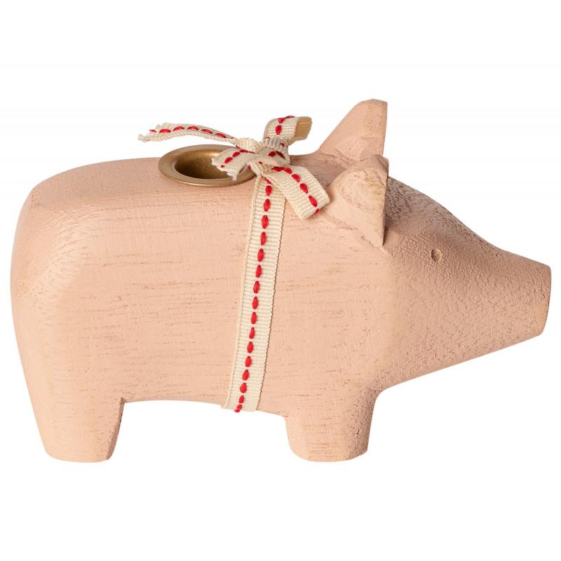 Maileg Holzschwein Puder klein Kerzenschwein für eine Kerze