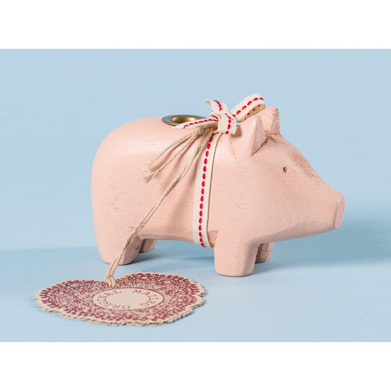 Maileg Holzschwein Puder klein Kerzenschwein Kerzenhalter für eine Kerze 5 cm Weihnachtsdeko