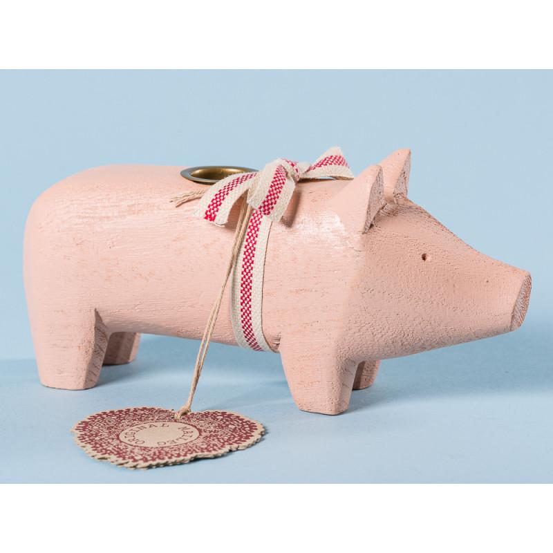 Maileg Holzschwein Puder Medium Kerzenschwein Kerzenhalter für eine Kerze 8 cm Weihnachtsdeko