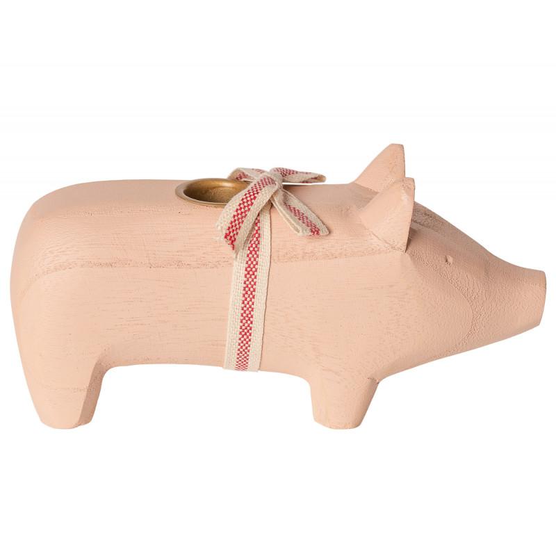 Maileg Holzschwein Puder medium size Kerzenschwein Kerzenhalter für eine Kerze 8 cm