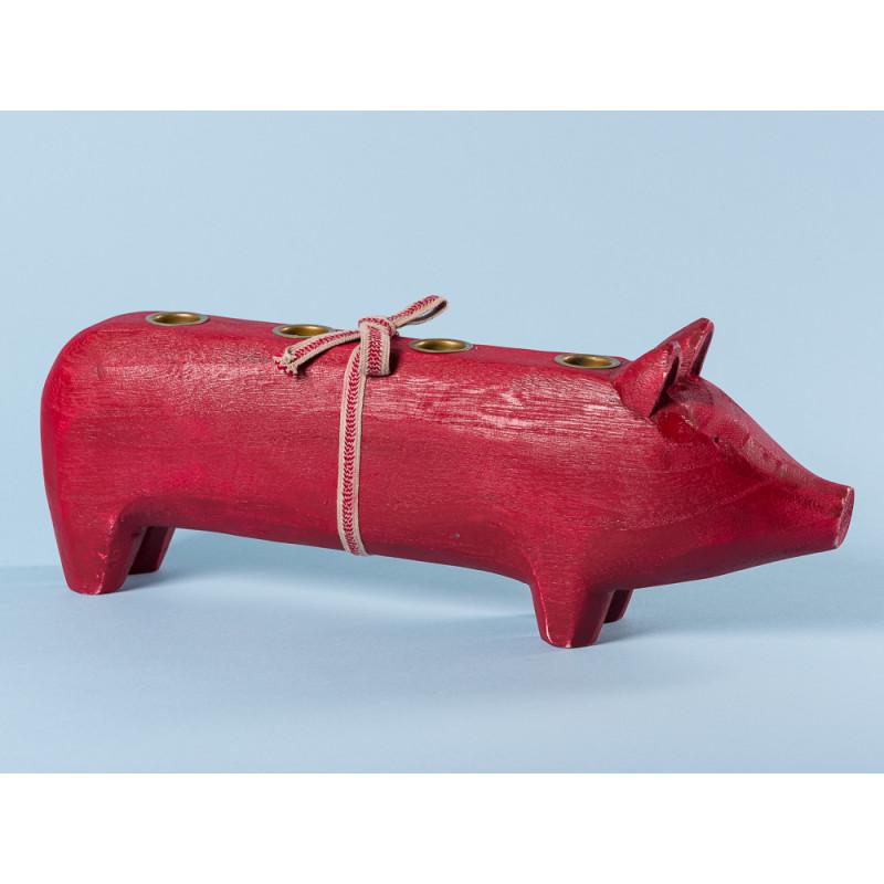 Maileg Holzschwein Rot groß Kerzenschwein Kerzenhalter für vier Kerzen 11 cm Adventsschwein Weihnachtsdeko
