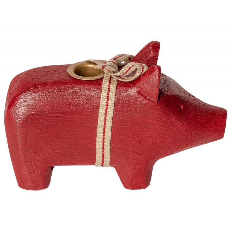 Maileg Holzschwein Rot klein Kerzenschwein fuer eine Kerze