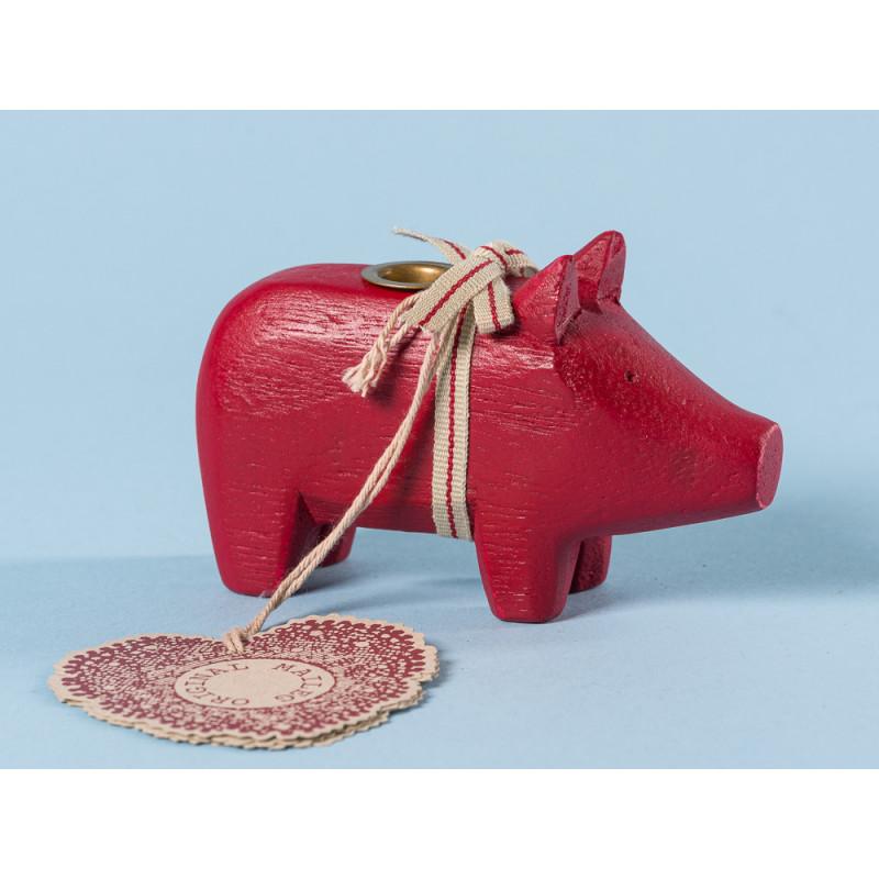 Maileg Holzschwein Rot klein Kerzenschwein Kerzenhalter für eine Kerze 5 cm Weihnachtsdeko