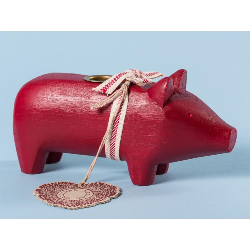 Maileg Holzschwein Rot Medium Kerzenschwein Kerzenhalter für eine Kerze 8 cm Weihnachtsdeko