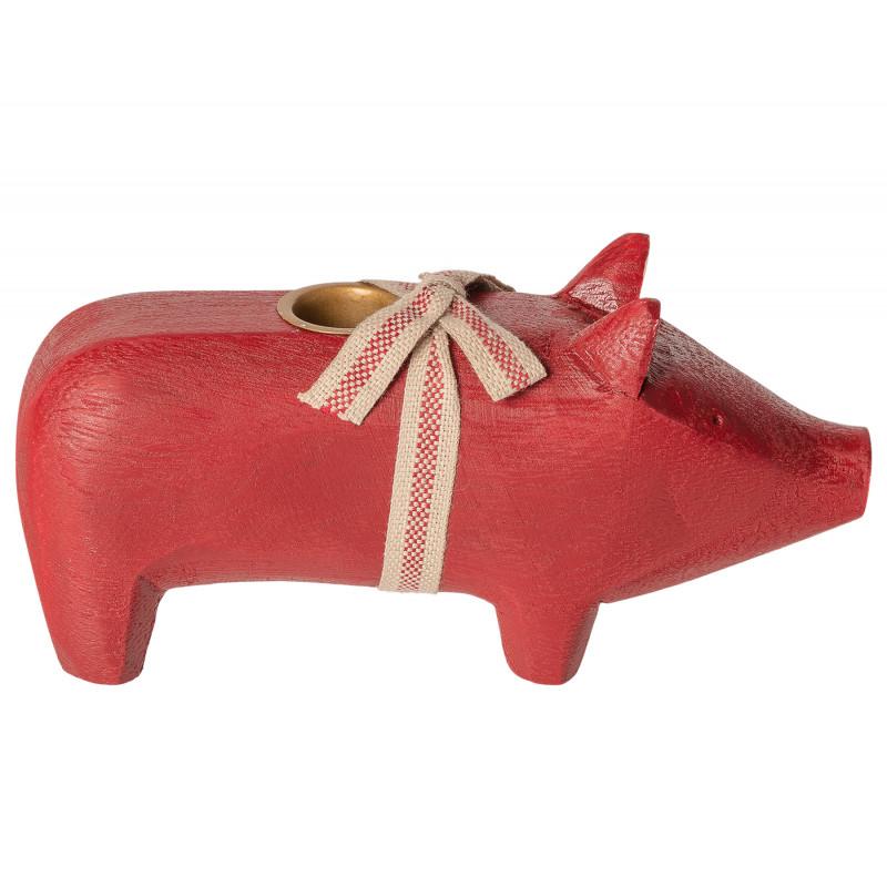 Maileg-Holzschwein-Rot-medium-size-Kerzenschwein-Kerzenhalter-für-eine-Kerze-8-cm