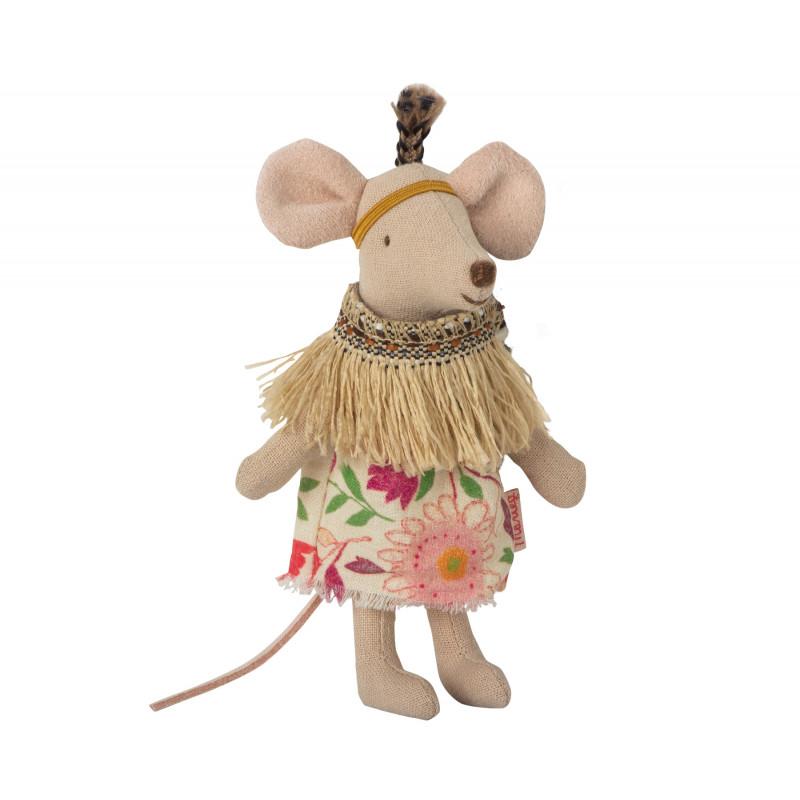 Maileg Indianer Mädchen Kleine Feder Little Sister Maus 8 cm groß Mouse mit Tipi Zelt