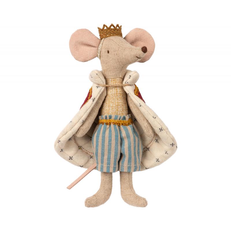 Maileg King Mouse König Maus in königlicher Robe und mit goldener Krone Kuscheltier Größe 15 cm