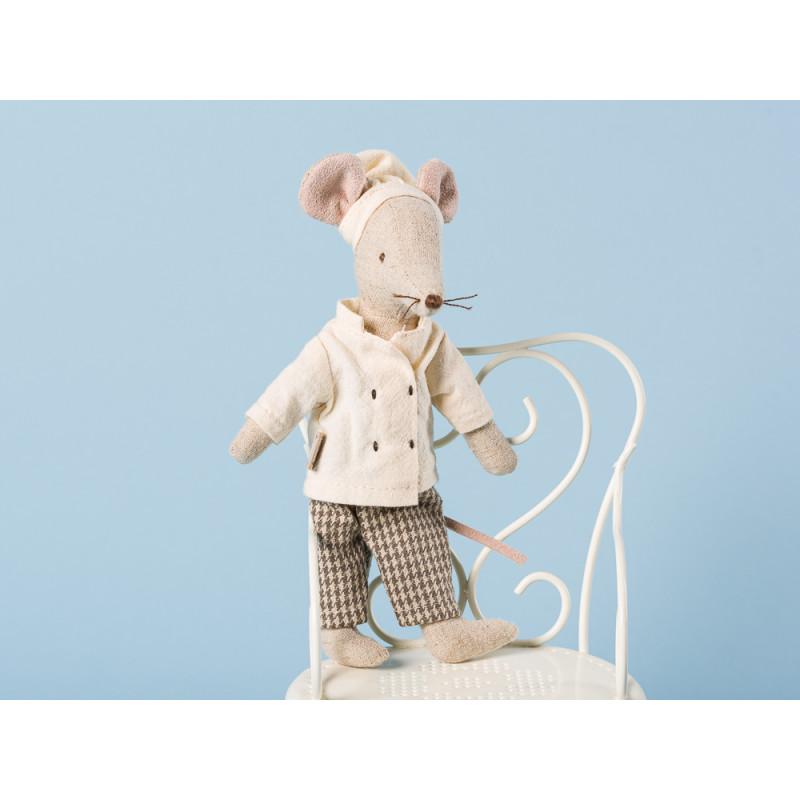 Maileg Koch Maus mit Kochmütze und Kochjacke Kuscheltier Größe 15 cm Chef Mouse