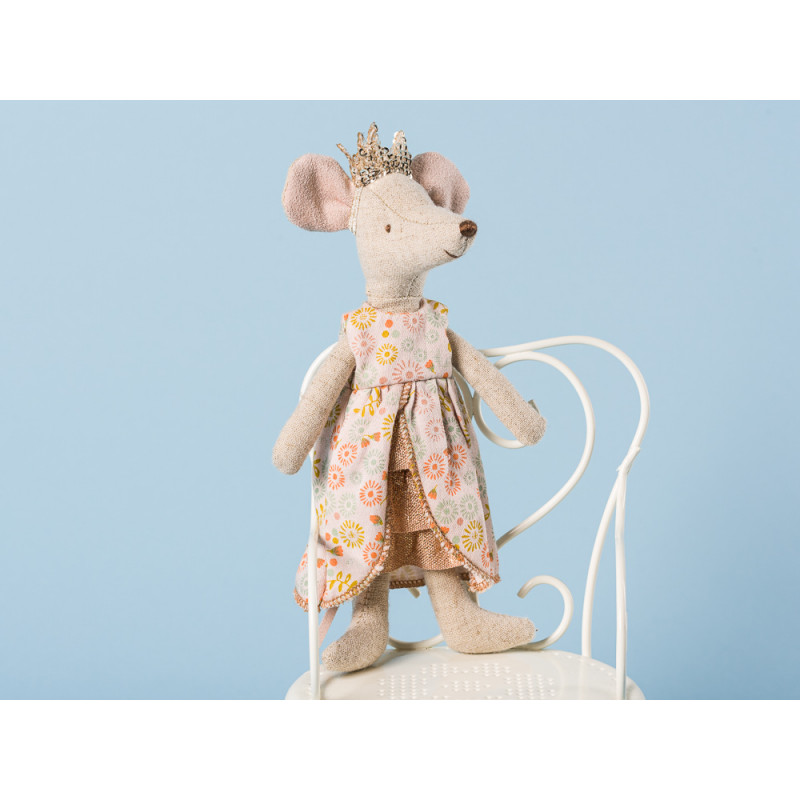 Maileg Königin Maus im Kleid und mit goldener Krone Kuscheltier Geschenk zum Sammeln Größe 15 cm Queen Mom Mouse