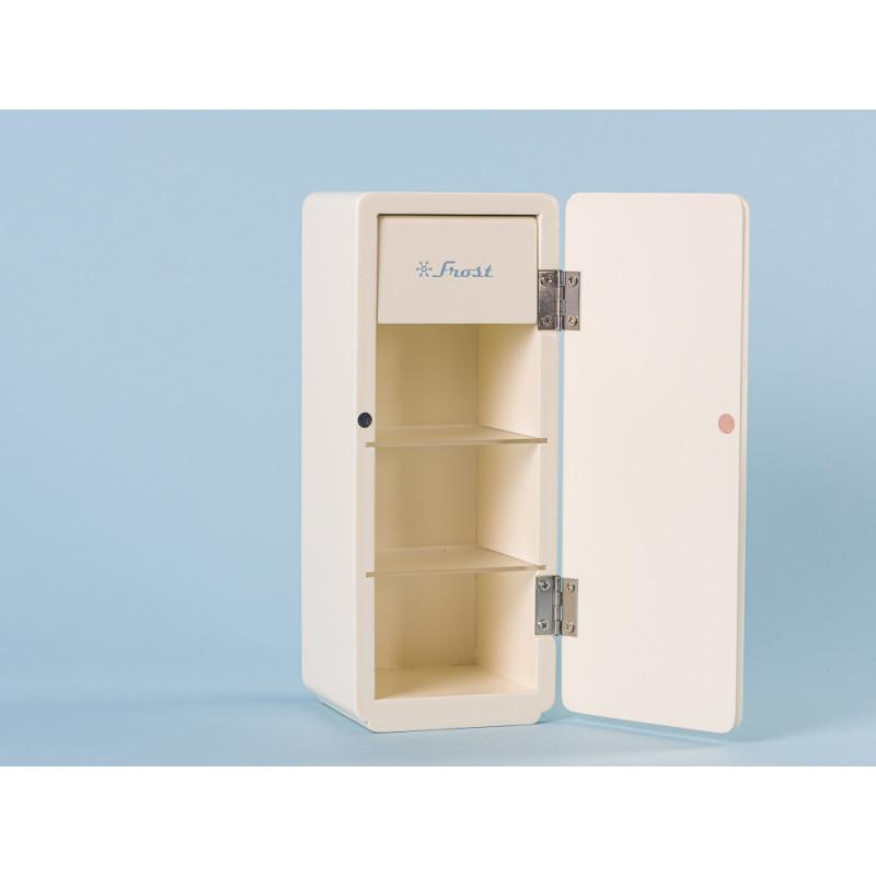 Maileg Kuehlschrank Weiss Miniature COOLER aus Holz 9 x 9 cm 22 cm hoch offen mit Einlegeboden