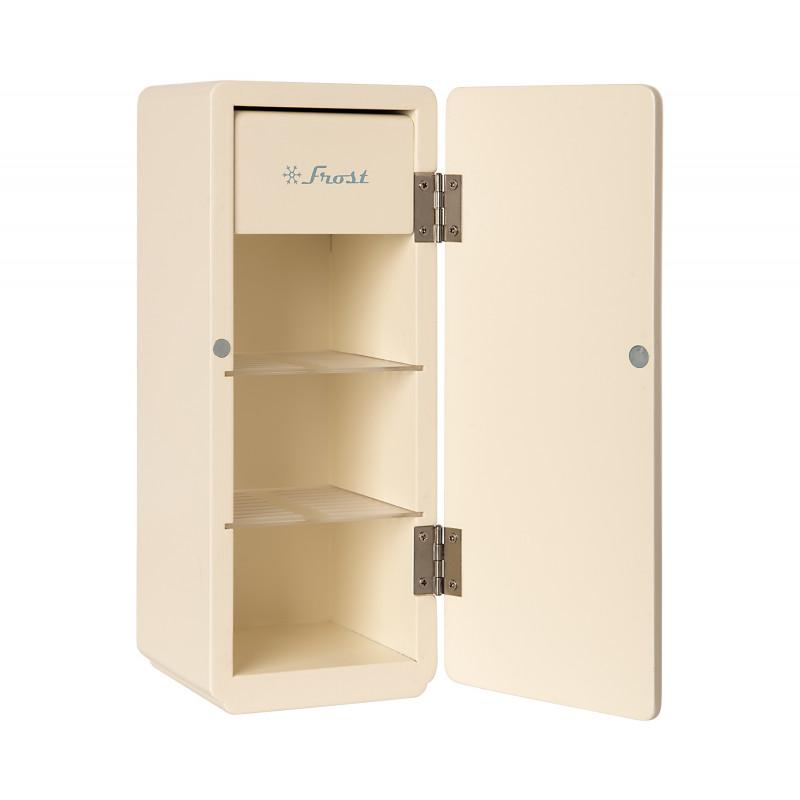 Maileg Kühlschrank Weiss Miniature COOLER aus Holz mit Eisfach Tür geöffnet