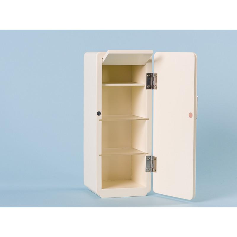Maileg Kuehlschrank Weiss Miniature COOLER aus Holz offen mit Einlegeboden und Gefrierfach
