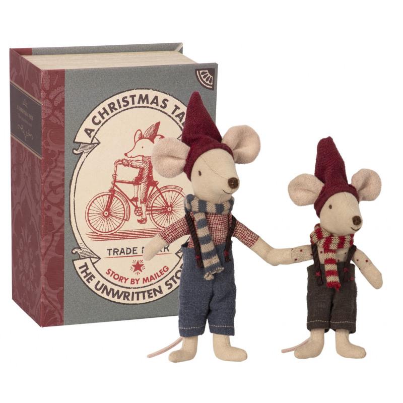 Maileg Mäuse im Buch Zwei kleine Kuscheltiere in Geschenkbox