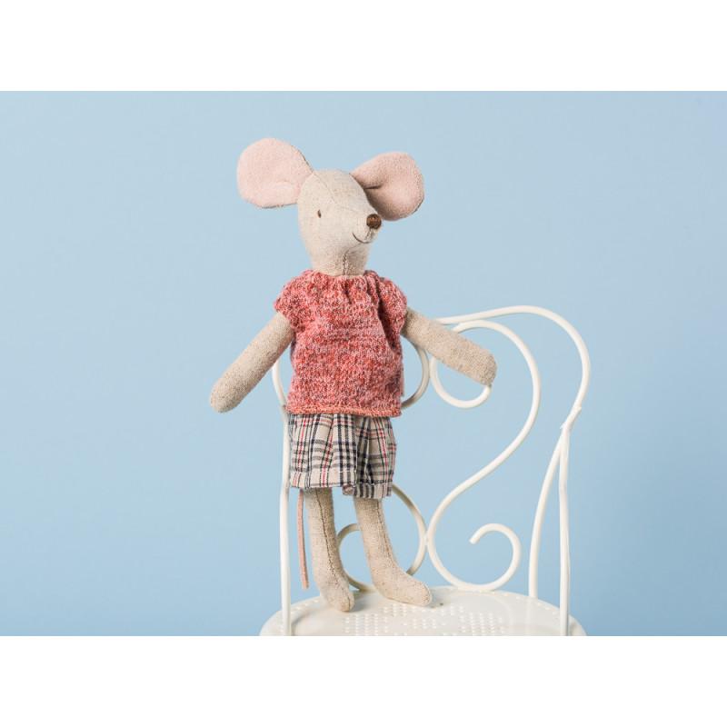Maileg Mama Maus im Pullover und kariertem Rock Kuscheltier Geschenk zum Sammeln Größe 15 cm Mum Mouse