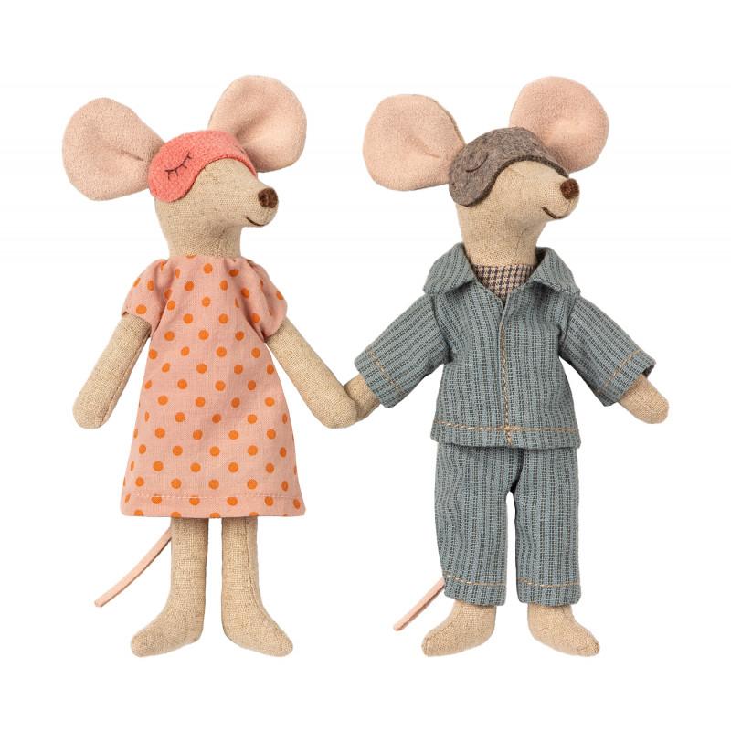 Maileg Mama Maus und Papa Maus in Zigarrenschachtel mit Pyjama und Schlafmaske