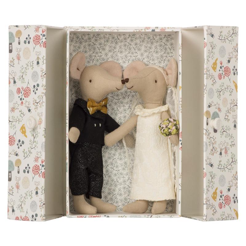 Maileg Maus Hochzeitspaar in Box als Hochzeitsgeschenk 15 cm groß