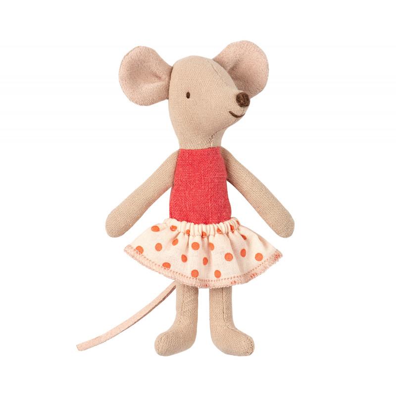 Maileg Maus Kleine Schwester im rot weiß gepunktetem Rock in kleiner Streichholzschachtel Größe 10 cm