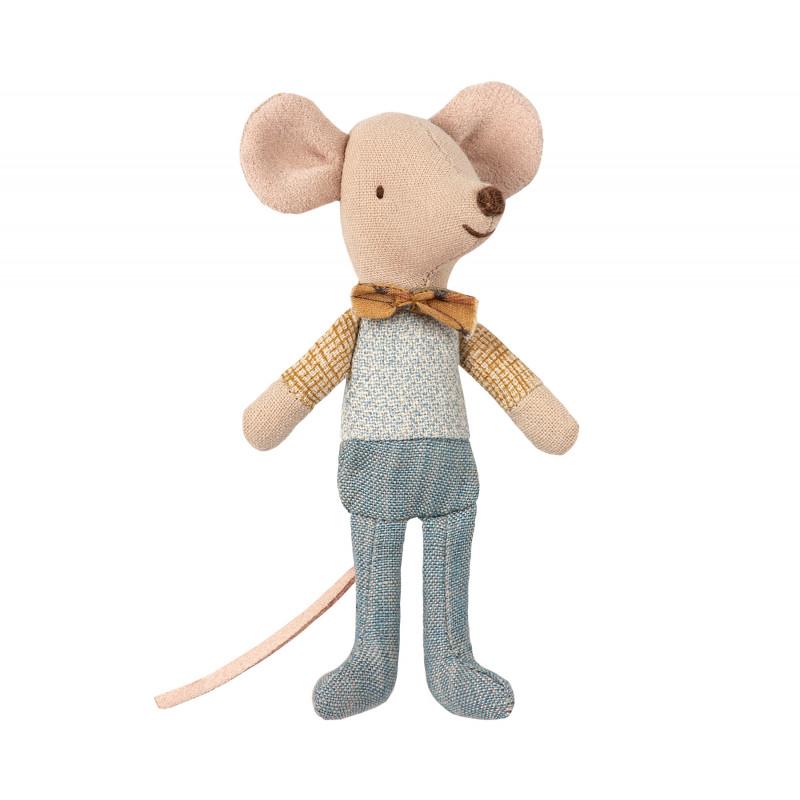 Maileg Maus Kleiner Bruder mit Fliege in kleiner Streichholzschachtel Größe 10 cm