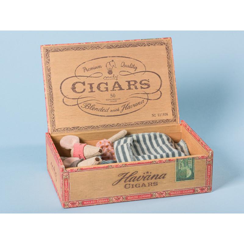 Maileg Maus Mama und Papa in Zigarrenschachtel schlafend im Bett