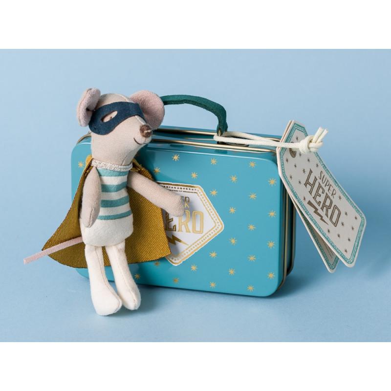 Maileg Maus Superhero im Koffer mit Umhang und Maske Stofftier Kuscheltier Mouse Little Brother Cape