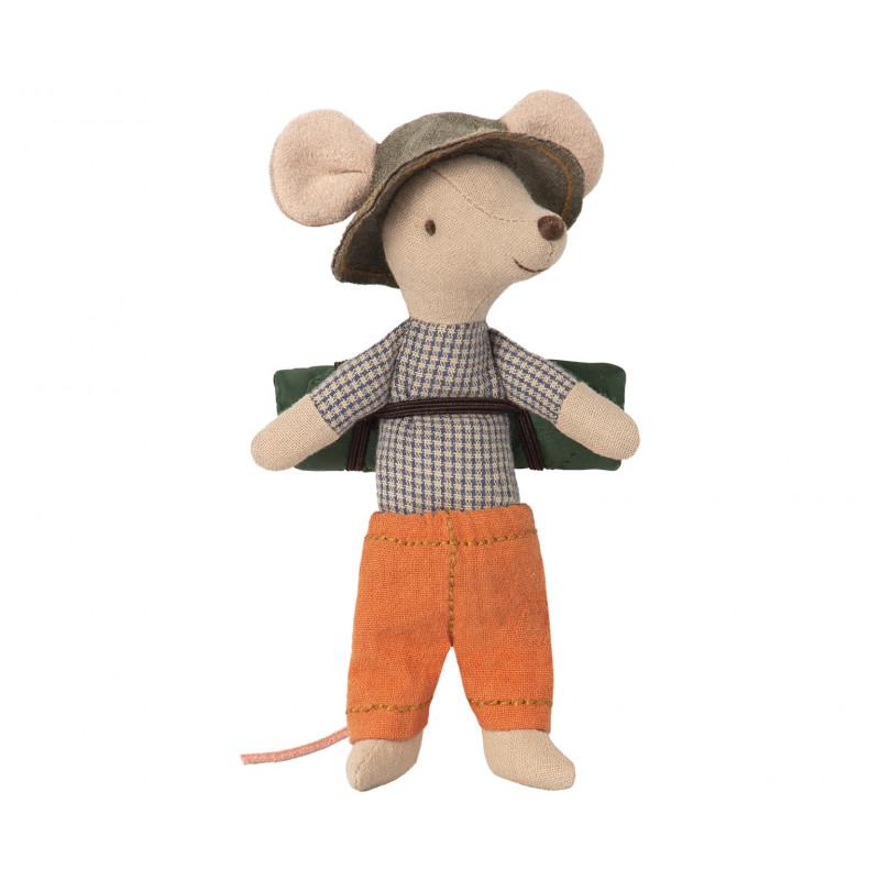 Maileg Maus Wanderer Kleiner Bruder mit Hut 12 cm groß