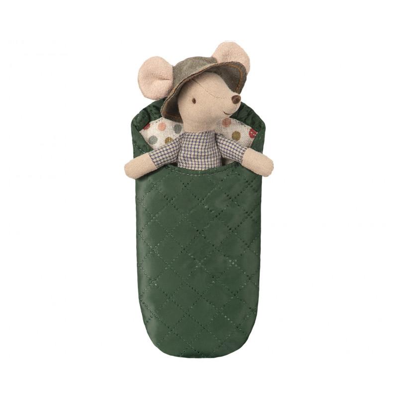 Maileg Maus Wanderer Kleiner Bruder mit Hut und Schlafsack 12 cm