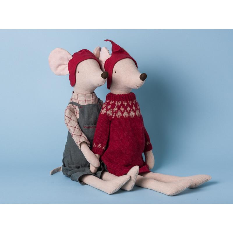 Maileg Maus Weihnachten Maxi Girl Boy Kleid rot Hose grau Kuscheltier Stofftier 56cm