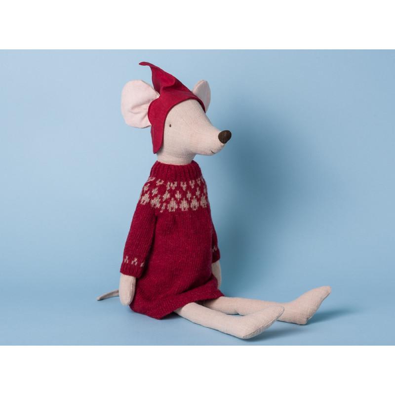Maileg Maus Weihnachten Maxi Girl Mädchen mit rotem Strickkleid Kuscheltier Stofftier 56cm